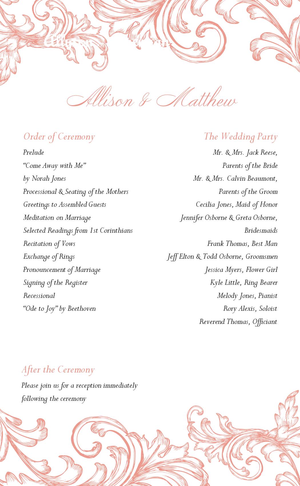 Wedding Program Printable Templates Template Free Ceremony Programs Coordinator