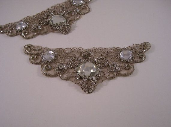 Antique Silver Embroidered and Jeweled Applique--One Piece