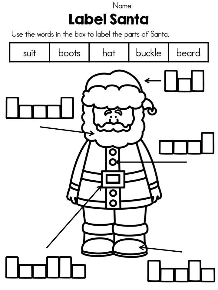 FREEBIE *** Label Santa >> Part of the Free Christmas Vocabulary ...