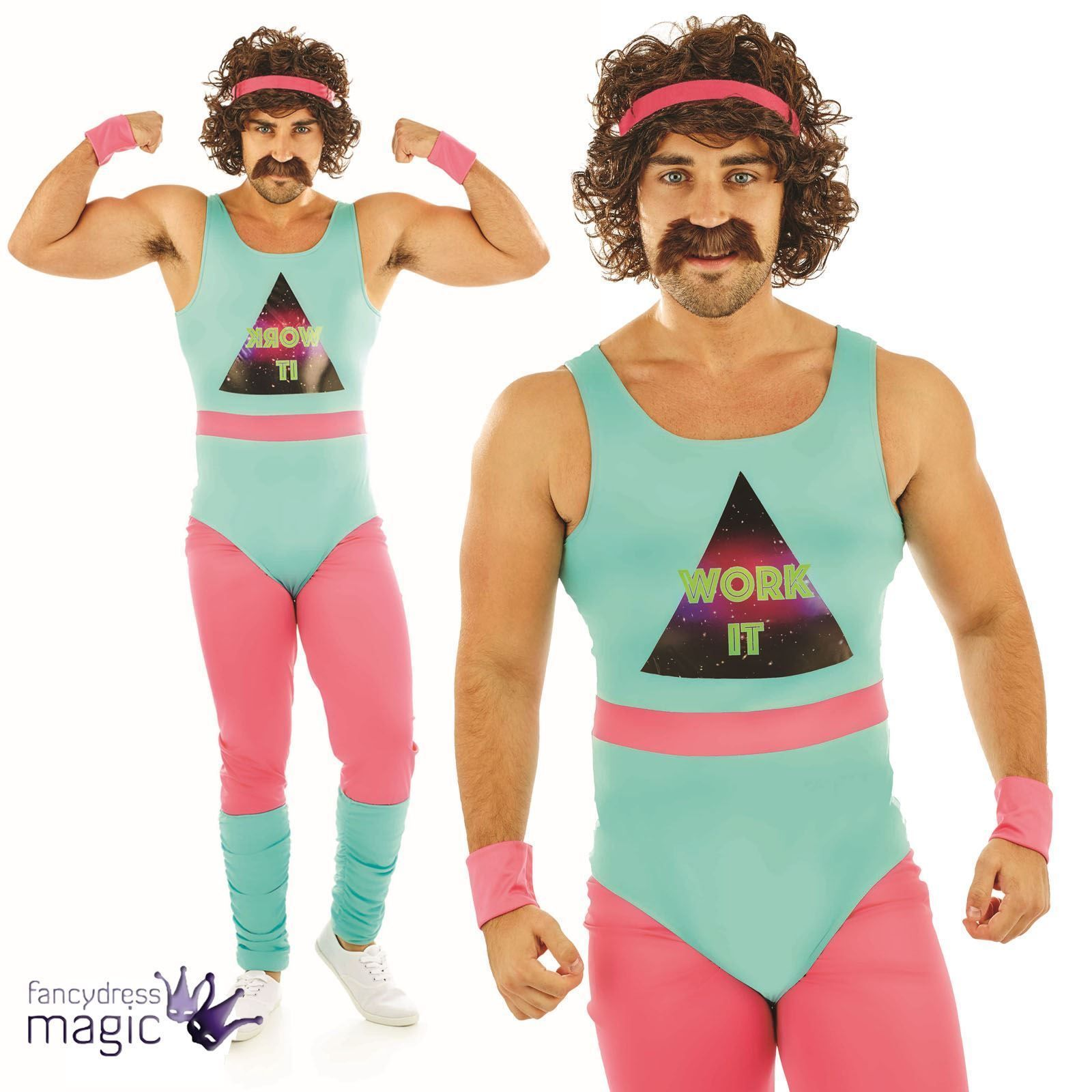 Mens Lets Get Physical Gym Work Out Costume Funny Humour Party 80s Fancy Dress