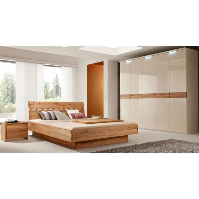 Komplett Schlafzimmer wildeiche massiv / weiß HochglanzKomplett ...