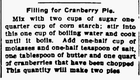 Old time recipes for Cranberries - pie, juices, relishes, etc.