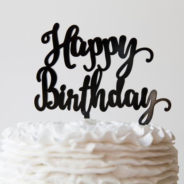 Happy Birthday Cake Topper - - Pink Poppy Party Shoppe - 1