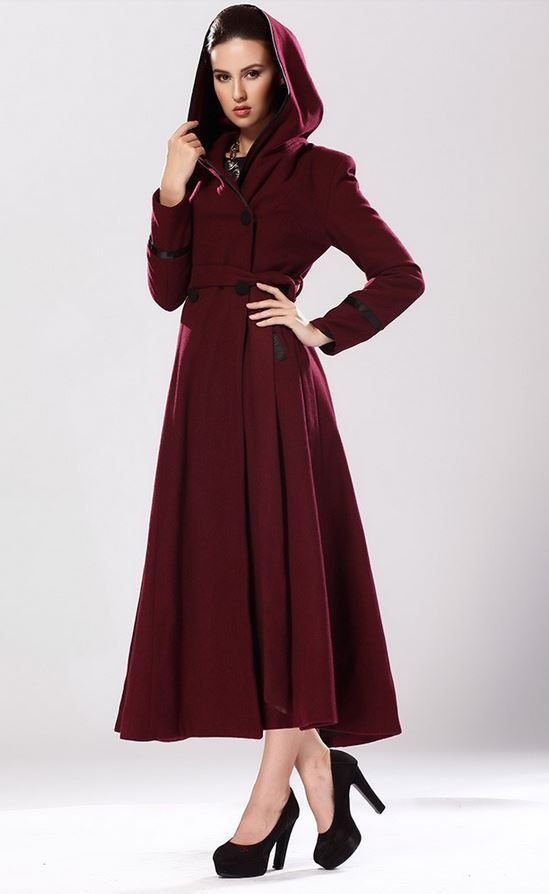 Red Riding Hood Burgundy Color Coatw ith Hood Ultra Long Wool Coat ...