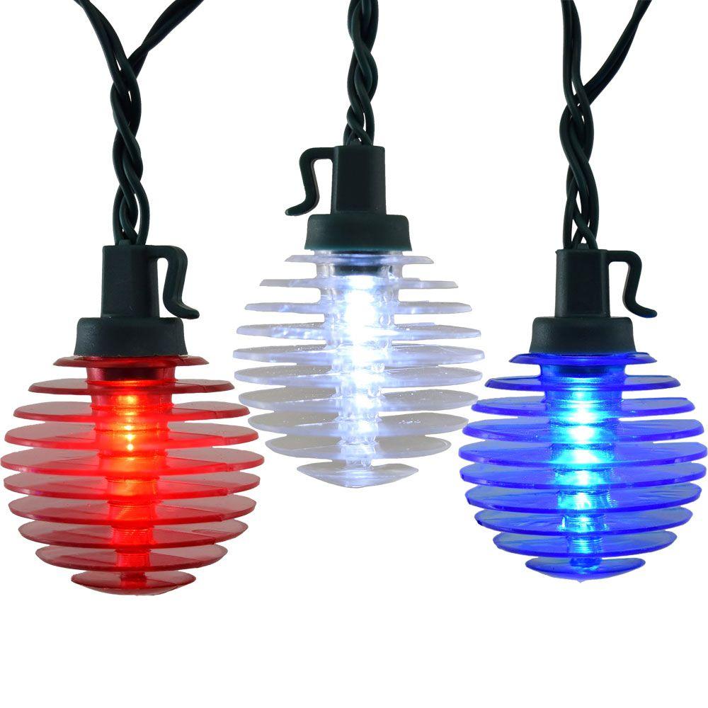 Patriotic LED Globe String Lights Red White Blue