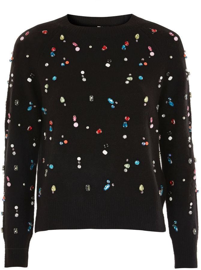 Topshop Black Christmas Jewelled Jumper. A cool Christmas