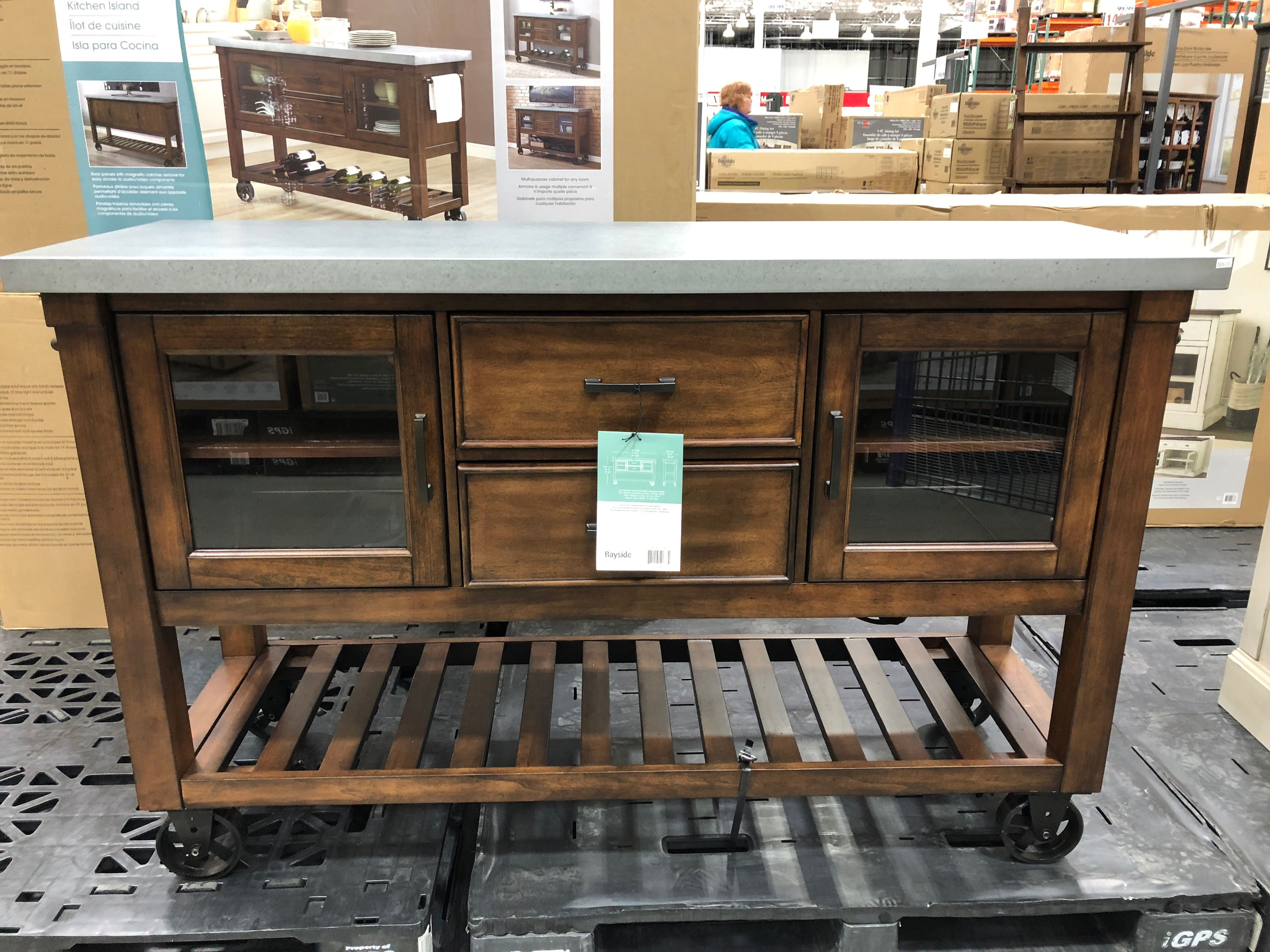 Kitchen Console Slide Out Organizers Cabinets Bayside Island At Costco 399 99 61 X20 X38