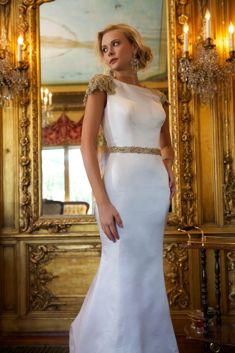 Gold white wedding dress  Cap sleeve Jovani mermaid pageant gown  Jovani Pageant Dress