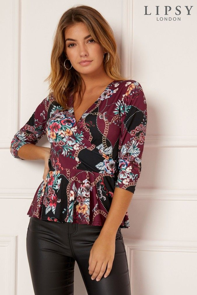c8ff5d8e33c Womens Lipsy Scarf Print Wrap Top - Red