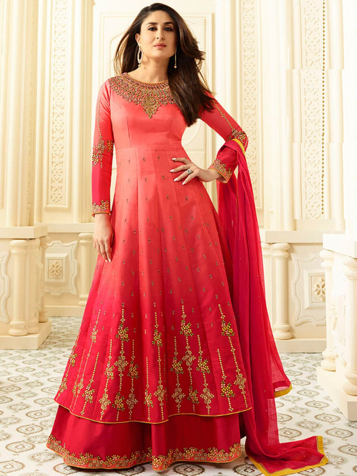 Marvelous pink georgette party wear designer salwar suit having