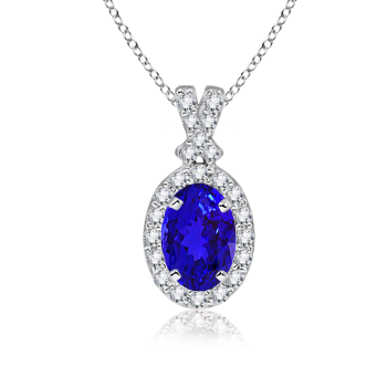 Angara Pear Drop Tanzanite Diamond Halo Vintage Pendant in Platinum LqjXNm