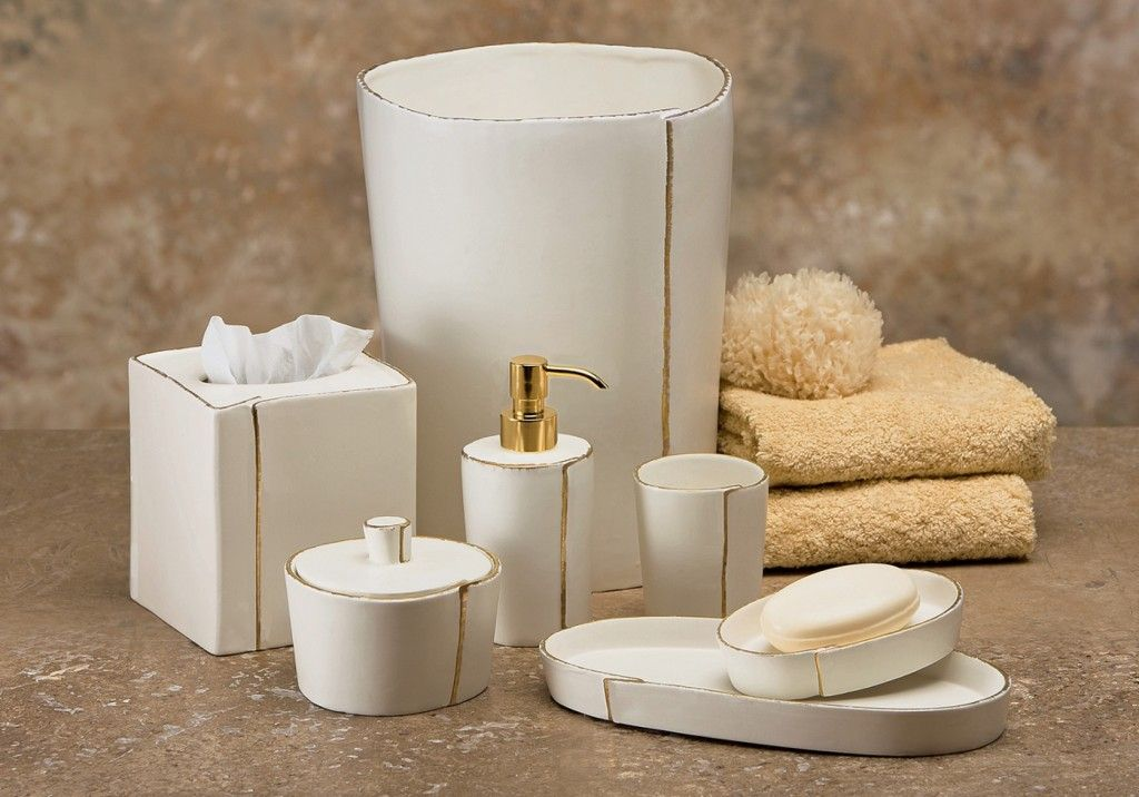Bathroom tray white house decor ideas for White and gold bathroom accessories