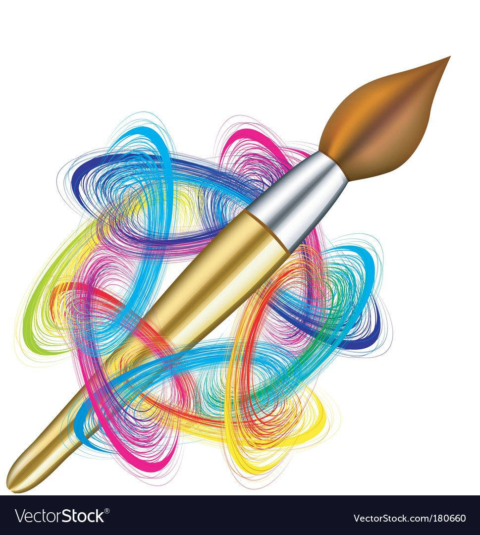 Artists palette and brush Royalty Free Vector Image , AD