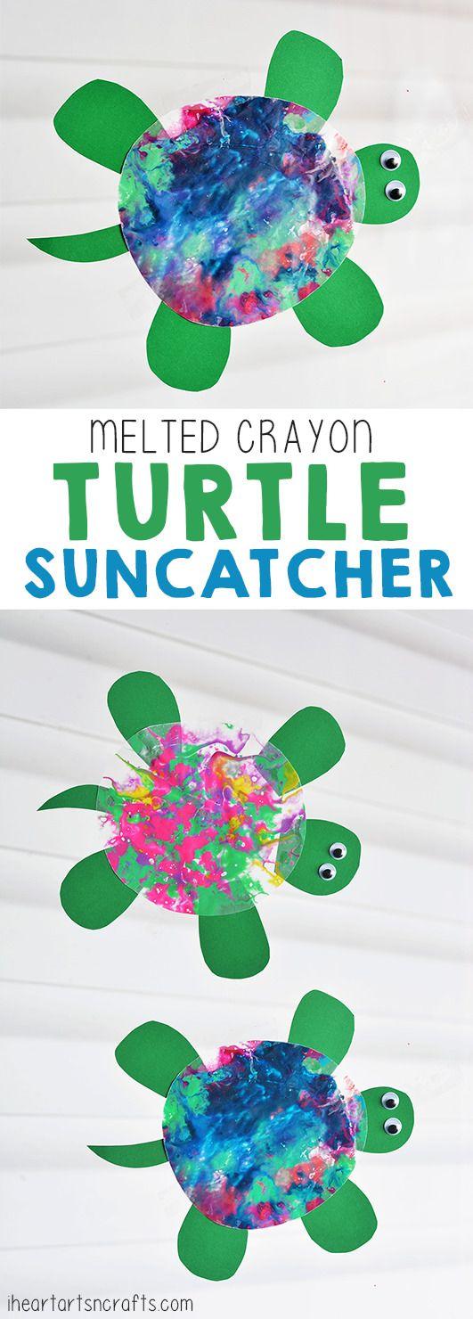 Melted Crayon Turtle Suncatcher Craft For Kids - I Heart Arts n Crafts
