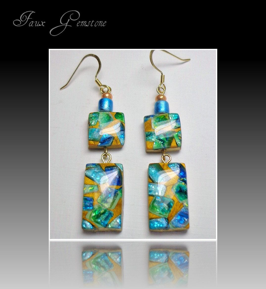 Faux Gemstone Turquiose & Emerald Earrings, Polymer Clay Jewelry $1200,  Via Etsy