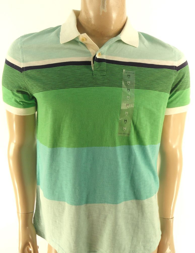 157b0a76 TOMMY HILFIGER $69.50 BLUE GREEN STRIPE CUSTOM FIT SHORT SLEEVE POLO SHIRT  M…