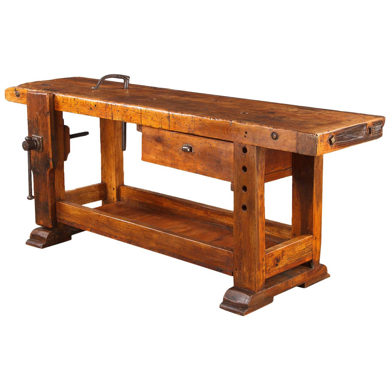 French Industrial Walnut Carpenter S Workbench Late 1800s