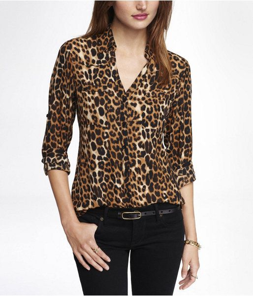f874d3387d02 Brown Leopard Button Down Blouse by Express. Buy for $59 from Express