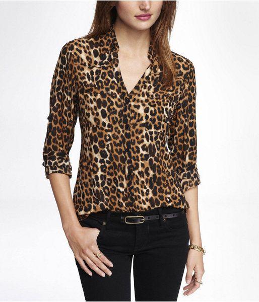 $59, Express Original Fit Leopard Print Portofino Shirt