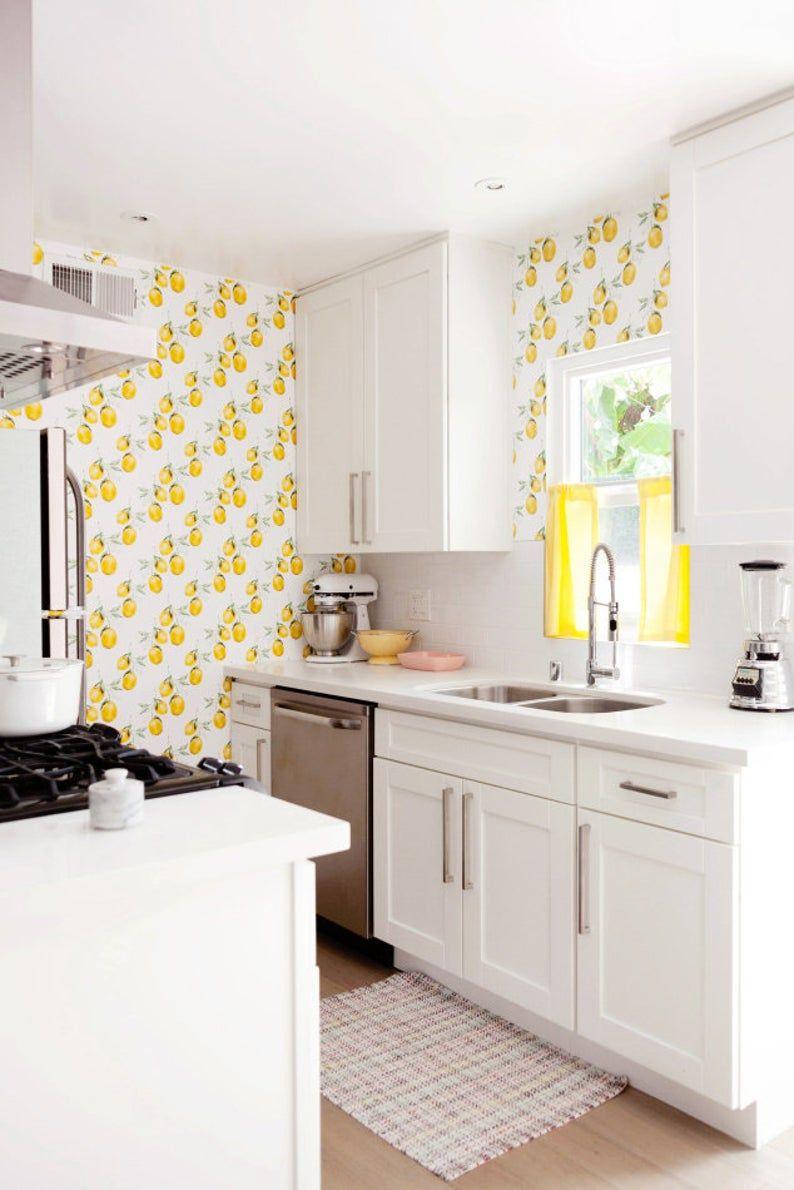 Lemon Wallpaper Removable Wallpaper Lemon Wallpaper Lemon Wall Sticker Lemon Wall Decal Lemon Self Adhesive Wallpaper 112 In 2020 Modern Kitchen Wallpaper Kitchen Wallpaper Yellow Kitchen Walls