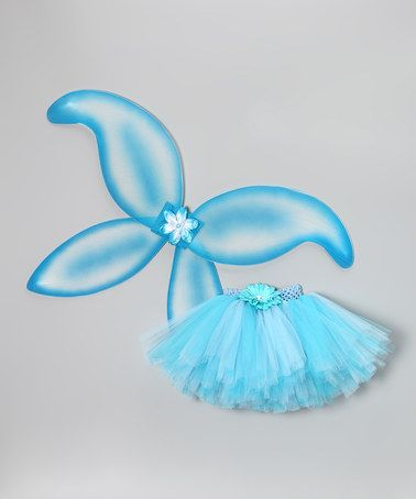 Take a look at this Blue & Turquoise Flower Tutu & Wings by Tutu Mania on #zulily today!