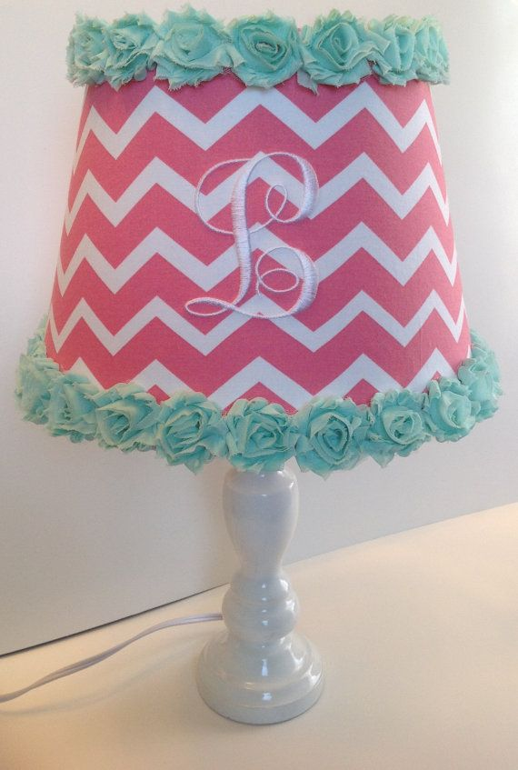 Monogrammed lamp shade coral chevron with mint by lightningbugs monogrammed lamp shade coral chevron with mint by lightningbugs mozeypictures Images