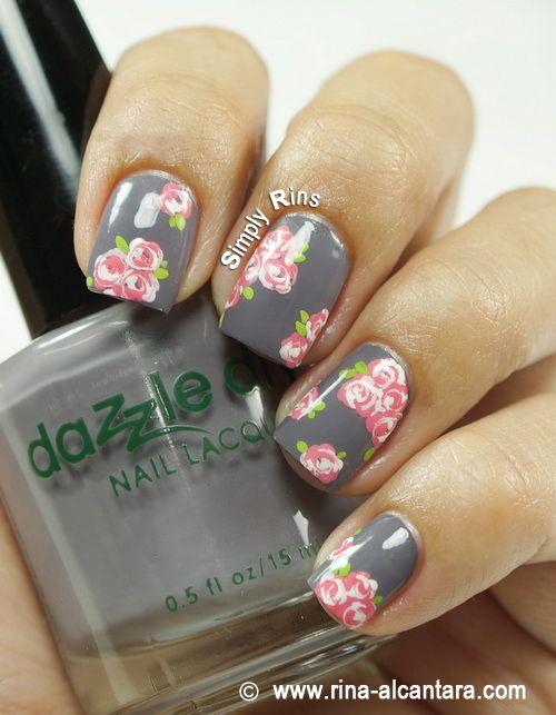 Vintage Pink Roses Nail Art Design on Dazzle Dry Anticipation - Vintage Pink Roses Nail Art Design On Dazzle Dry Anticipation