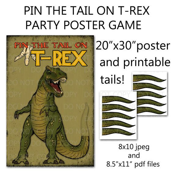 Printable DIY Pin the Tail on Trex Dinosaur Party Game Poster 20\