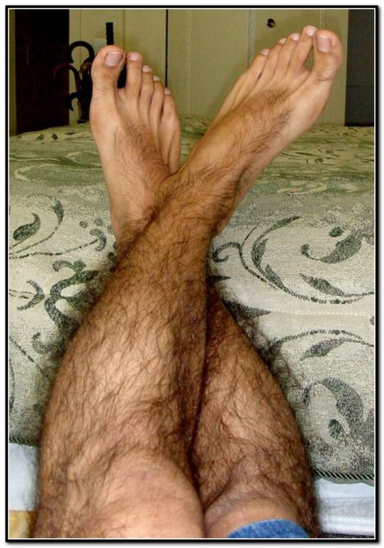 Above male sexy hairy legs feet the