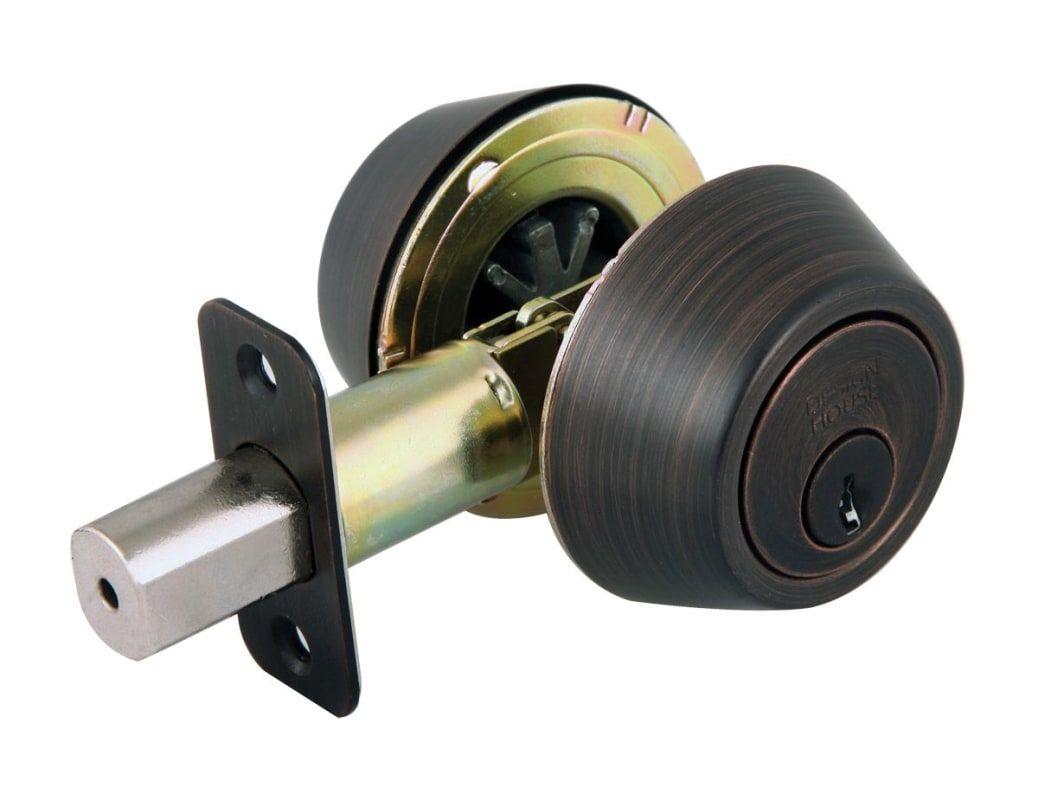 Design House 702613 Double Cylinder Keyed Entry Deadbolt With Radius Corner Latc Brushed Bronze Deadbolt Keyed Entry Double Cylinder House Design Design Bronze