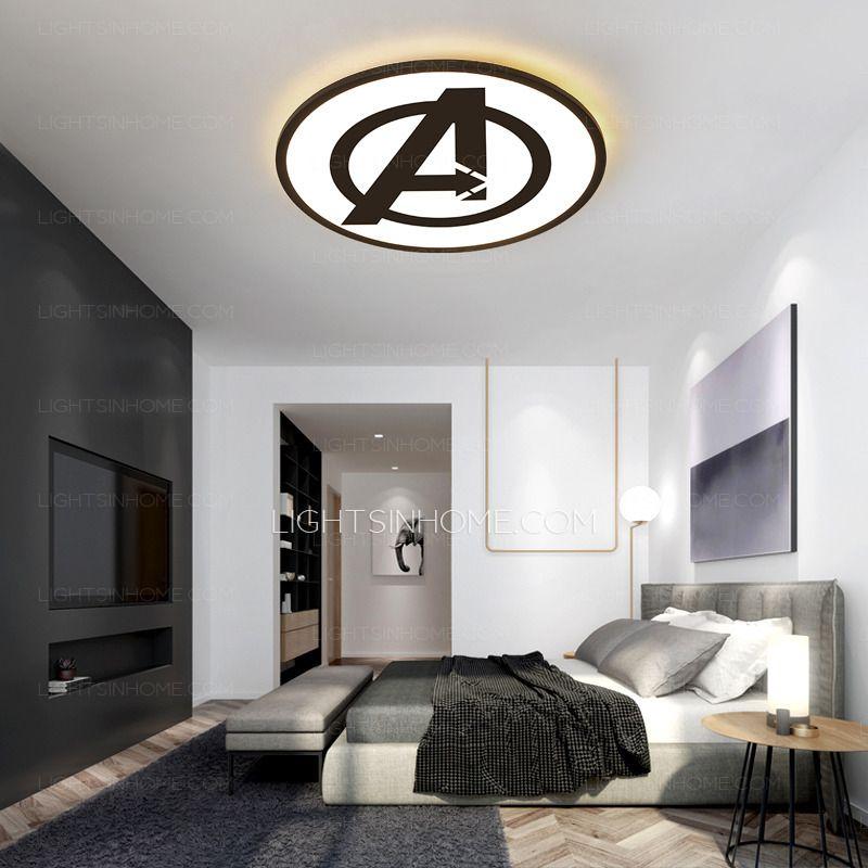 Ultra Thin Round Marvel Ceiling Light Acrylic Avenger Shade For Boys Bedroom Ceiling Light Ceiling Lights Light Fixtures Bedroom Ceiling