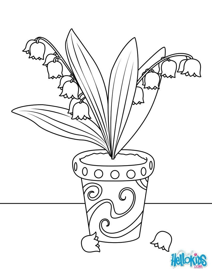 Coloriage Fleur Dans Un Pot.Coloriage Pot De Muguet Pergamano Nacrti Flower Coloring Pages