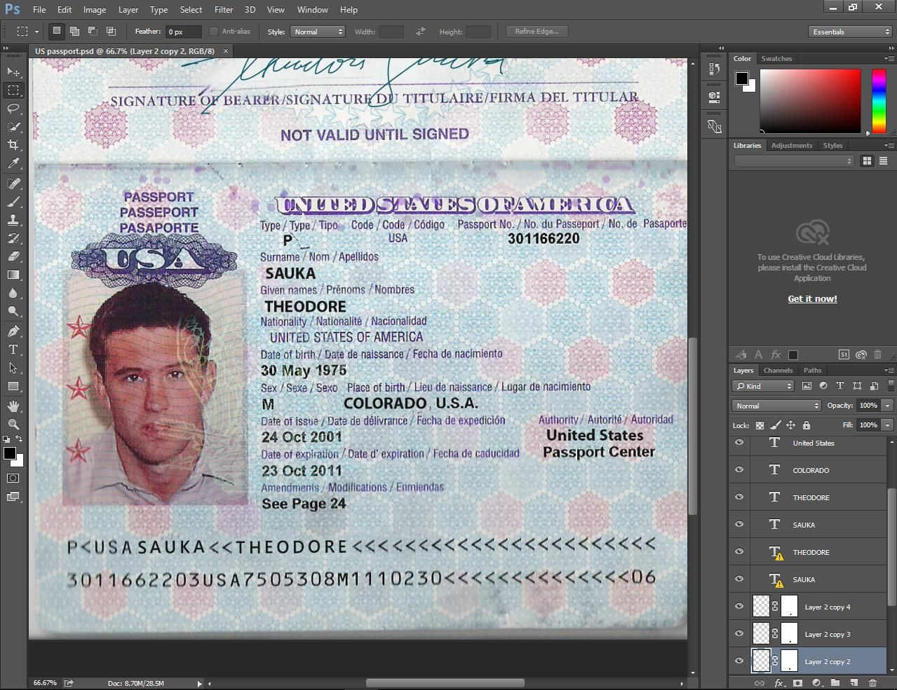 Usa Passport Psd Template  Photoshop    Psd Templates