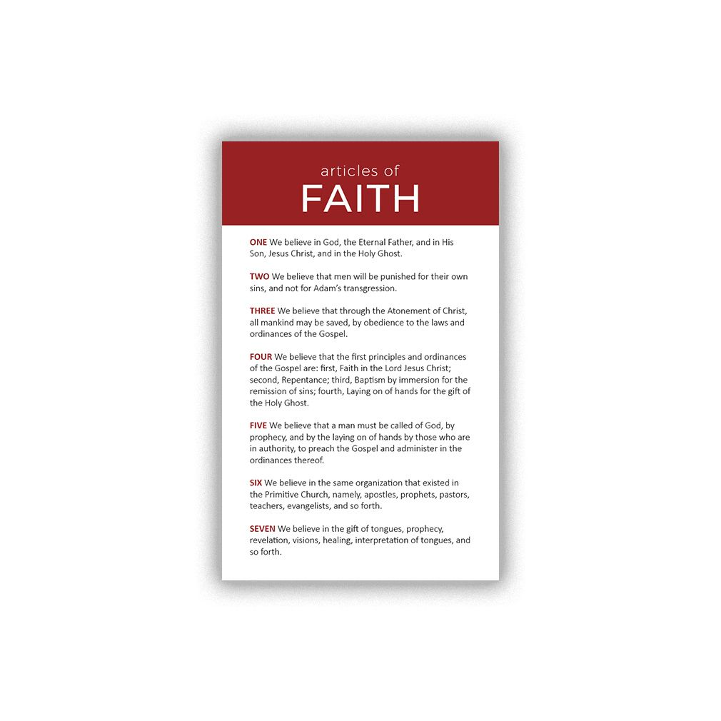 Articles Of Faith Pocket Card Articles Of Faith Pocket Cards 13 Articles Of Faith