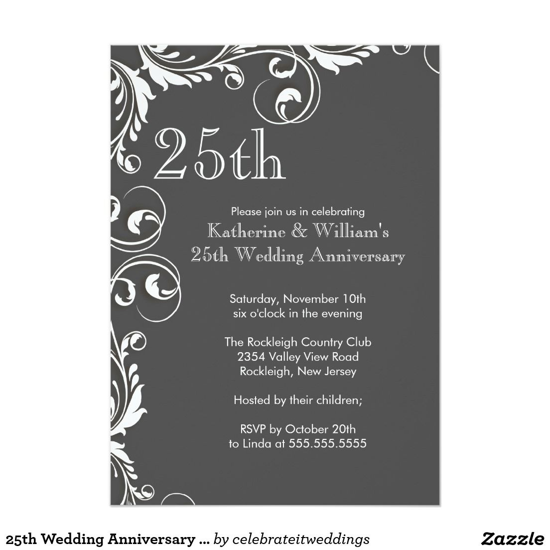 25th Wedding Anniversary Party Invitations | 25th year anniversary ...