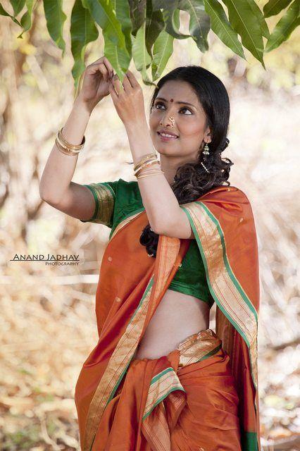 Image result for girl orange saree
