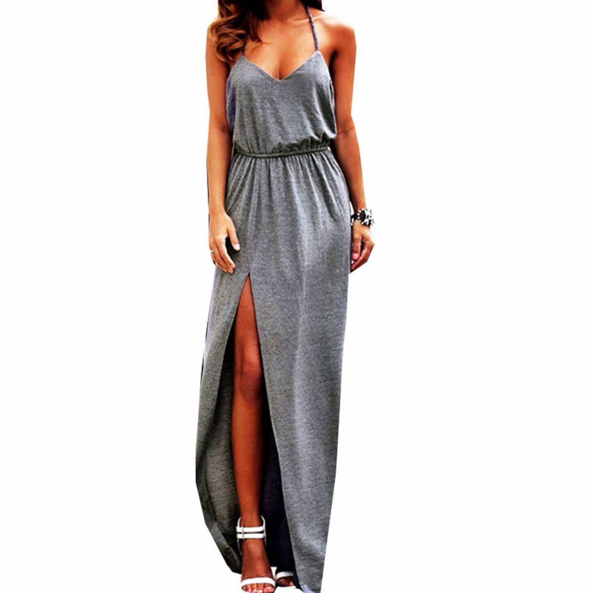 summer style women backless sleeveless vneck boho maxi long