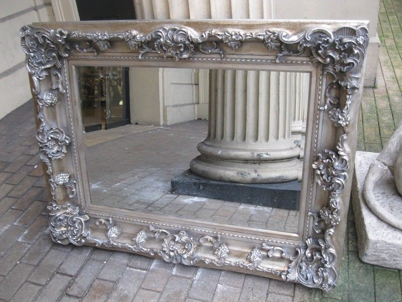 Antique Silver Ornate Large French Bevelled Chunky Champagne Mirror 7ft X 4ft Home Decorating