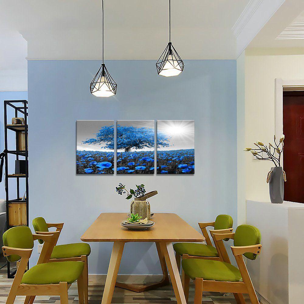 Blue wall decor modern painting canvas wall art tree wall art and