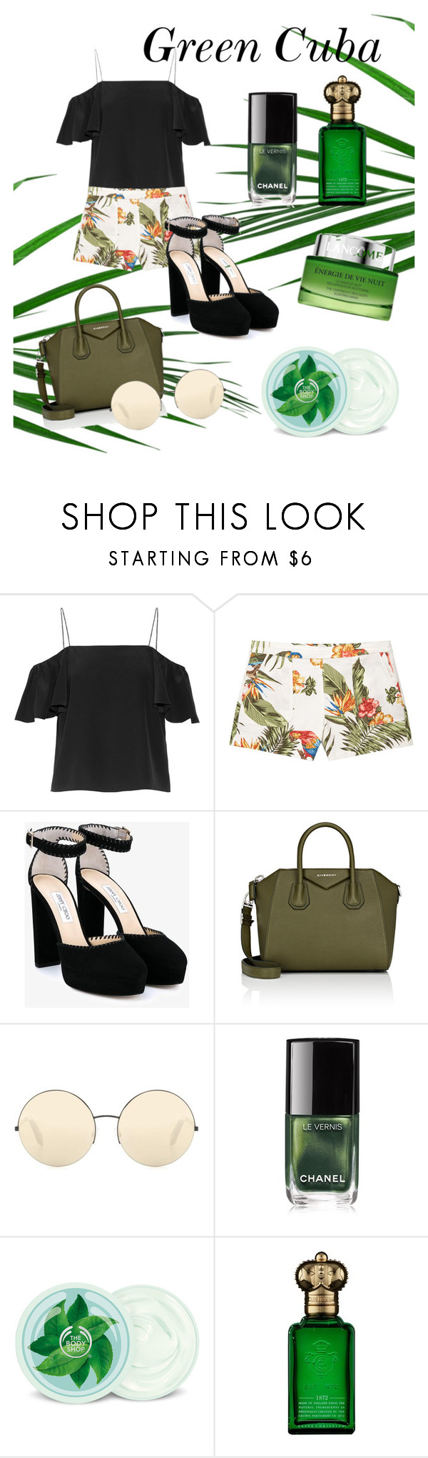 """""""Green Cuba"""" by tyaradelia ❤ liked on Polyvore featuring Fendi, MANGO, Jimmy Choo, Givenchy, Victoria Beckham, Chanel, Fuji, Clive Christian and Lancôme"""