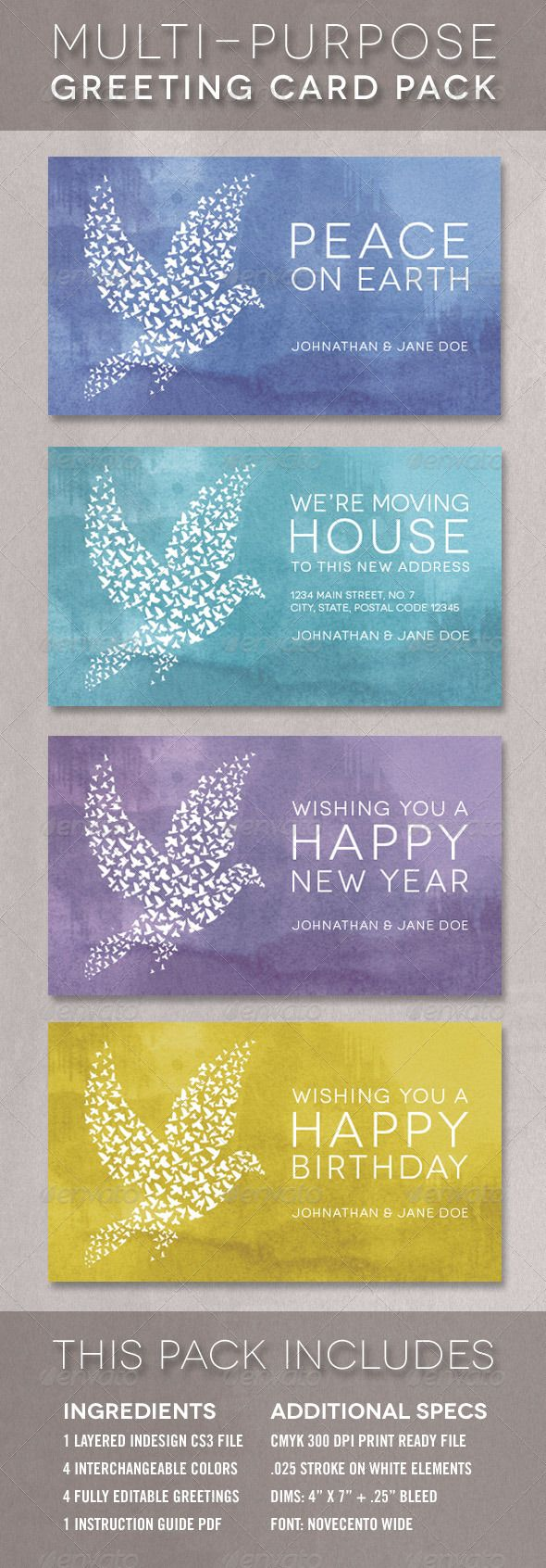 The Dove Greeting Card Template Multi-Pack