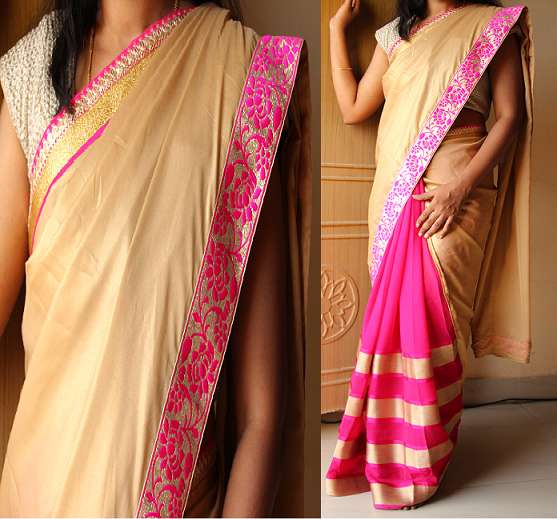 Code: RS018 --- Half and half saree with gold shimmer georgette finished in pink,gold borders for outer half self zari patterned pink georgette for pleates.---  Blouse: Pink brocade --- Price: INR 3400 --- Please mail us at ramanisarees@gmail.com