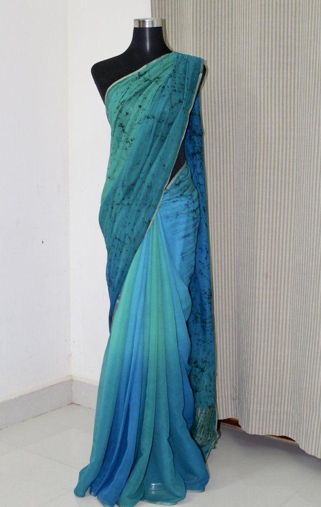 2e7aa48b98 PURE CHIFFON BATIK SAREE | akrithi | Saree, Chiffon saree, Saree ...