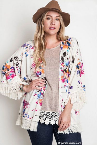 e1e68a4e301 PLUS SIZE Gorgeous Vintage Inspired Bohemian Floral Watercolor Fringe Kimono  Cardigan-Off White Ivory