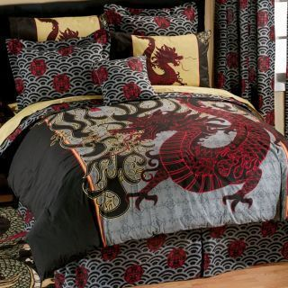 Boy Girl ORIENTAL ASIAN DRAGON Full Comforter Sheet Bed In A Bag - Chinese dragon comforter set