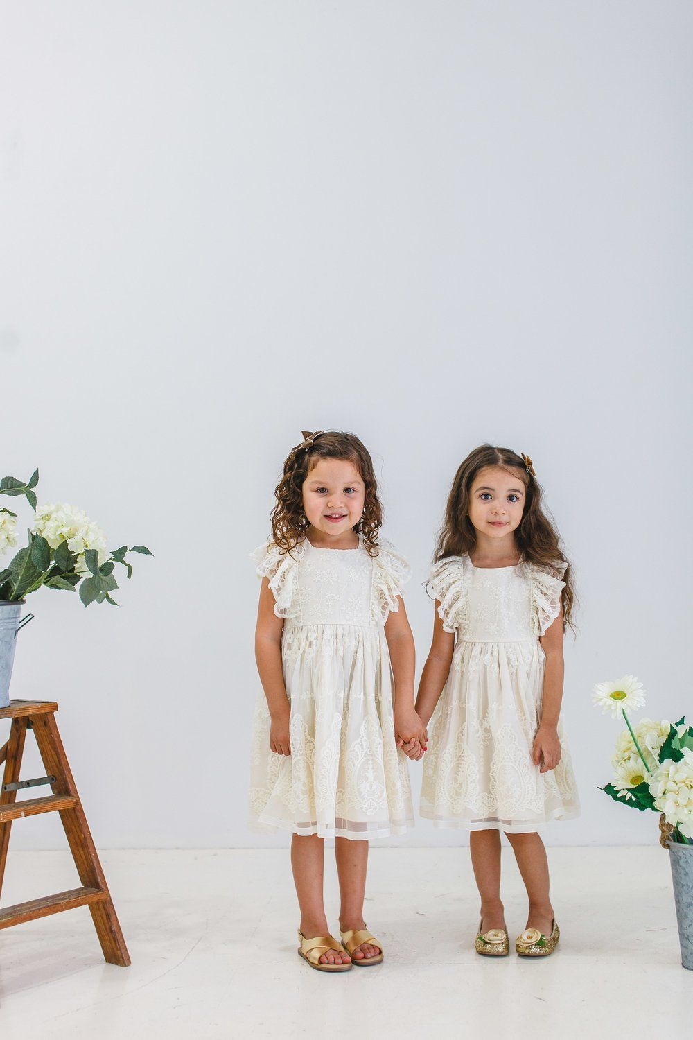 ivory floral lace dress for girls - cuteheads.com