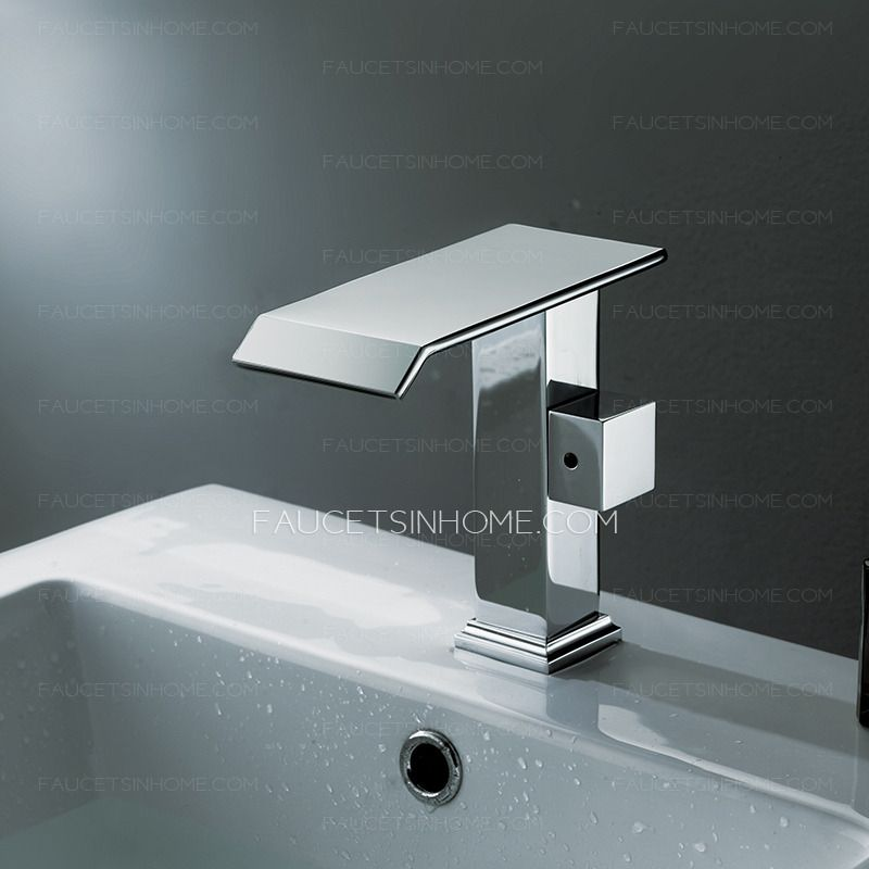 Cool Square Shaped Side Handle Waterfall Bathroom Faucet   Home ...