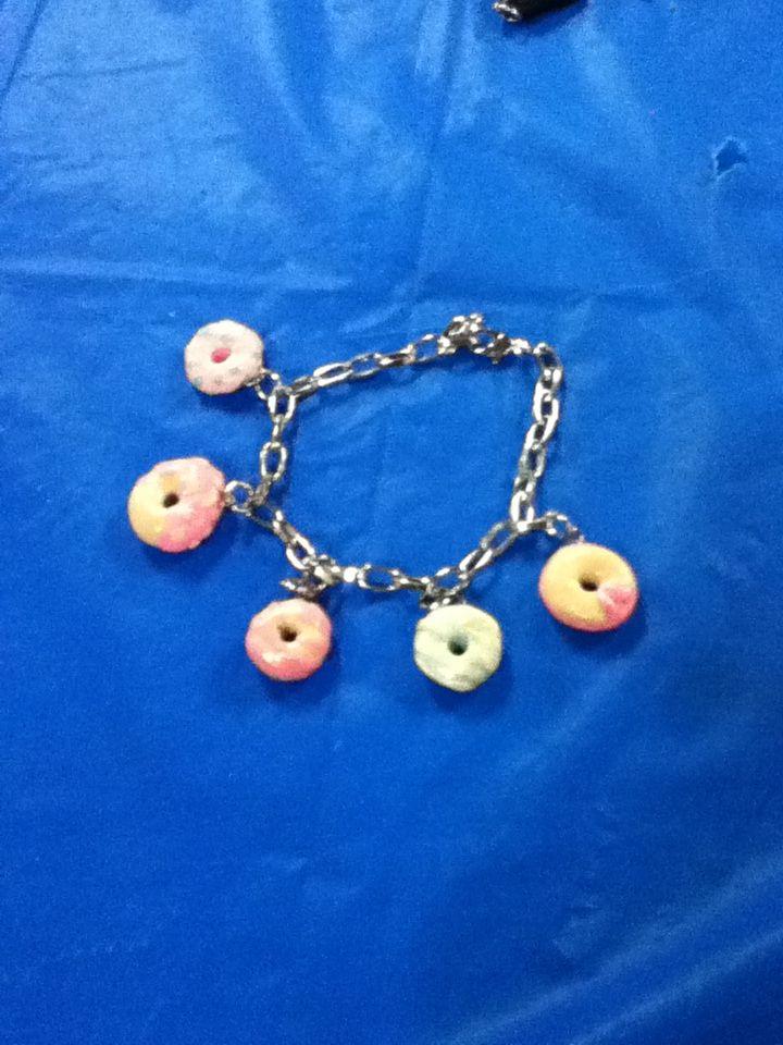 Donut bracelet polymer clay hand made