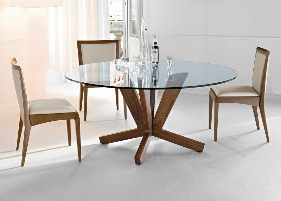 Glass Wood Dining Table Round 20 amazing glass top dining table designs | glass top dining table