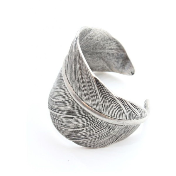 Tutti & Co Jewellery Rachelle Antique Silver Feather Cuff (9.565 HUF) found on Polyvore